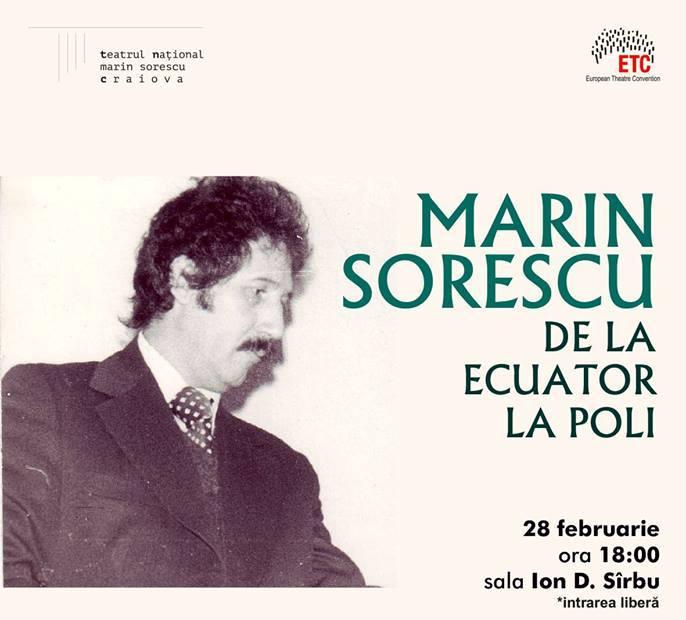 """""""Marin Sorescu – de la Ecuatori la Poli"""", mai mult decât un spectacol de poezie, miercuri 28 februarie, de la ora 18,oo"""